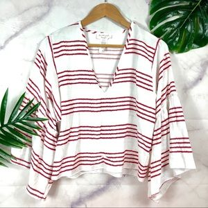 LAVENDER FIELD Red Striped Bell Sleeve Top Medium